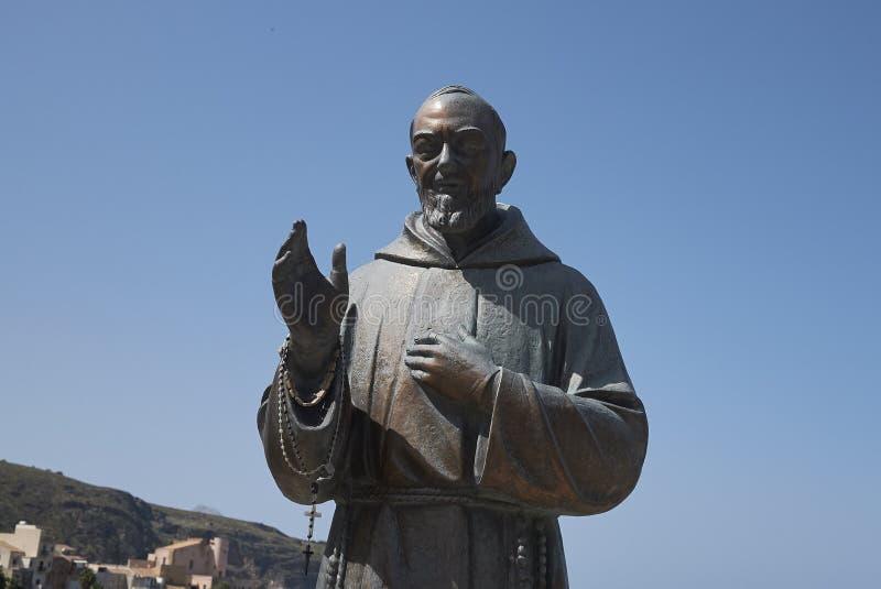 Padre Pio monument. Castellammare del Golfo, Italy - September 04, 2018 : Padre Pio monument in Castellammare royalty free stock image