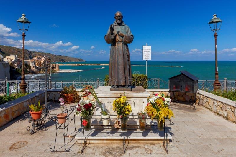 Castellammare del Golfo. Italy. Sicily. Castellammare del Golfo, Italy - February 25, 2019: Monument to Padre Pio royalty free stock photo