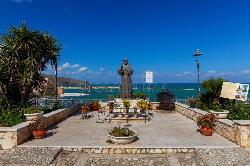 Castellammare del Golfo. Italy. Sicily. Castellammare del Golfo, Italy - February 25, 2019: Monument to Padre Pio royalty free stock image