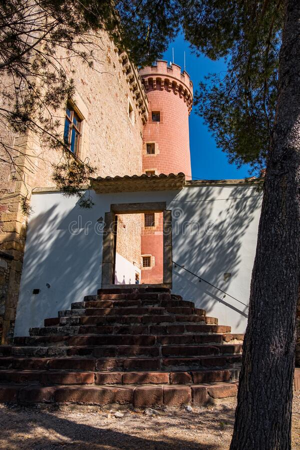 Castelldefels castle in Barcelona, Catalonia, Spain.  stock photos