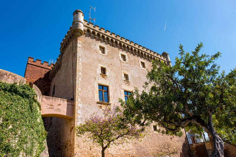 Castelldefels castle in Barcelona, Catalonia, Spain.  royalty free stock photo