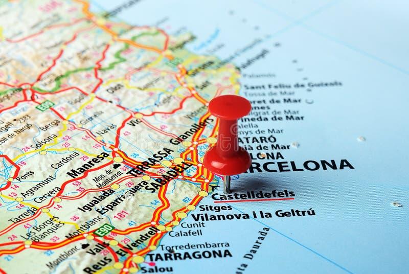Castelldefels, mapa de España imagenes de archivo