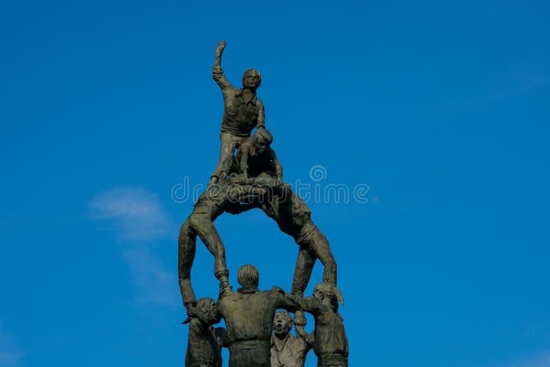 Castellers纪念碑,人的塔竞争 库存图片