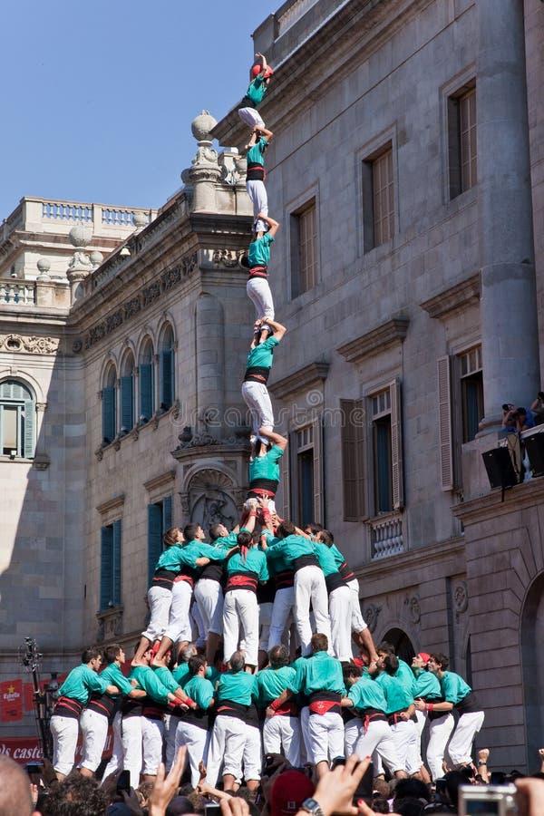 castellers 人力塔在巴塞罗那 免版税库存图片