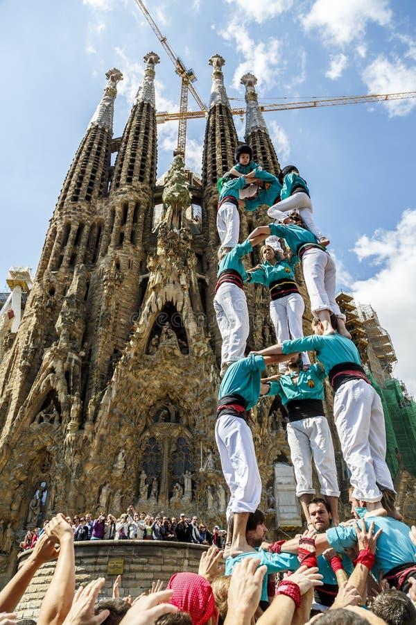 Castellers Barcelona 2013 foto de archivo libre de regalías