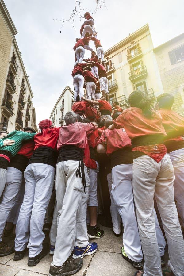 Castellers Barcelona, Espanha Pirâmide humana imagens de stock royalty free