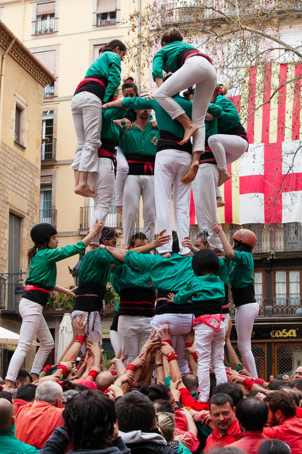 Castellers Barcelona, Spain. Human pyramid. Castellers Barcelona. Human pyramid for a party in the center of Barcelona in Spain royalty free stock images