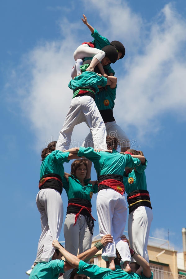 Castellers de la Sagrada Familia fotografering för bildbyråer