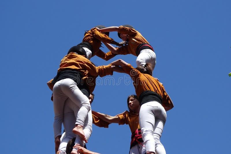 Castellers, menselijke toren van Catalonië, Spanje royalty-vrije stock afbeeldingen
