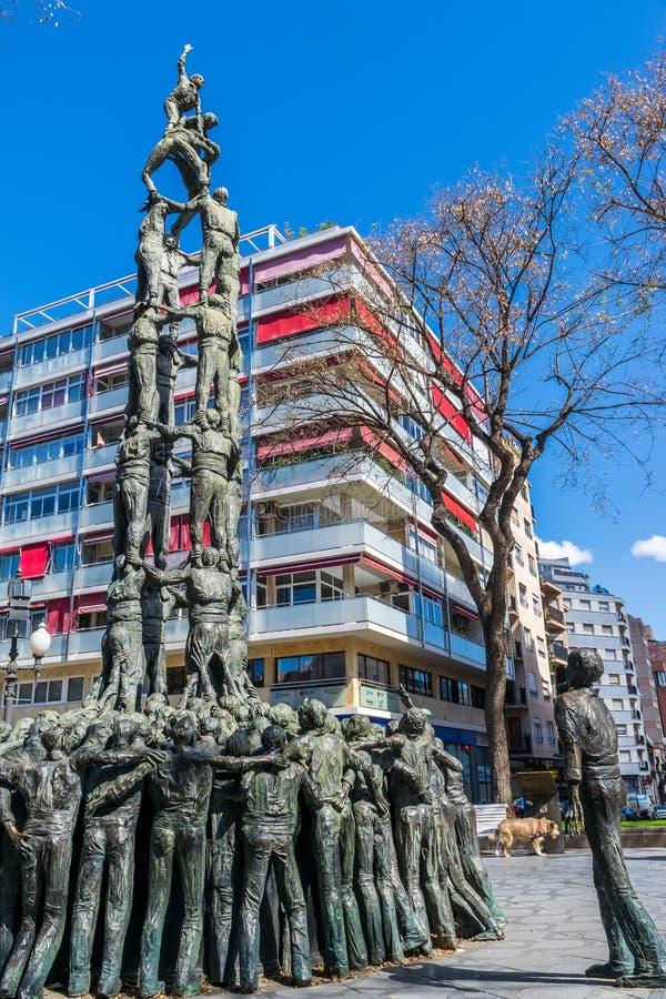 Castellers-Monument in Tarragona, Spanien stockfotos