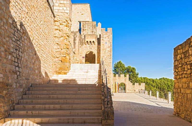 Castellet Castle near Foix dam at Barcelona, Spain royalty free stock photos
