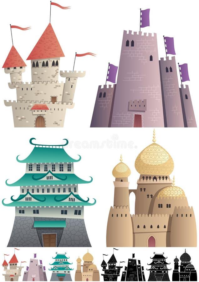 Castelli del fumetto su bianco royalty illustrazione gratis