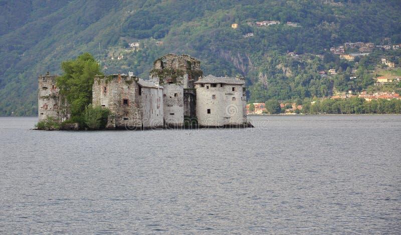 Castelli di Cannero. Island castle in Lake Maggiore. Lago Maggiore, Italy. Castelli di Cannero: island castle by Cannero Riviera, Piedmont, Italy stock image