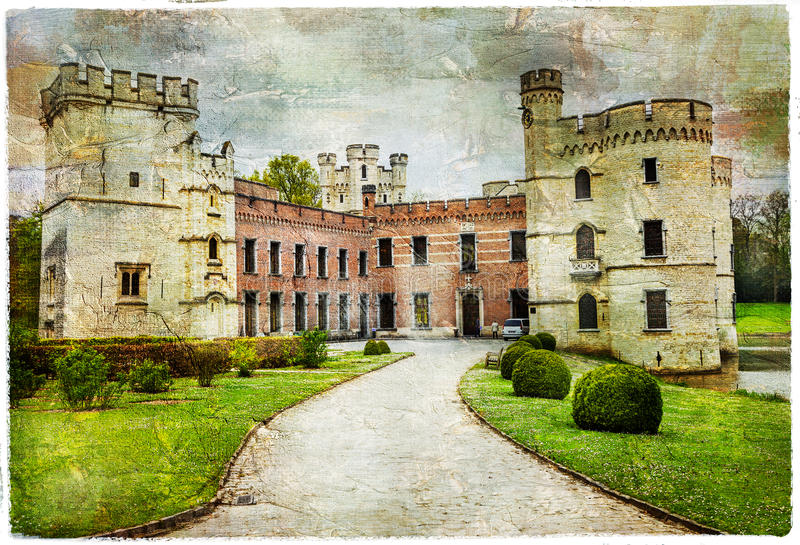 Castelli medievali del Belgio - Bouchot immagini stock