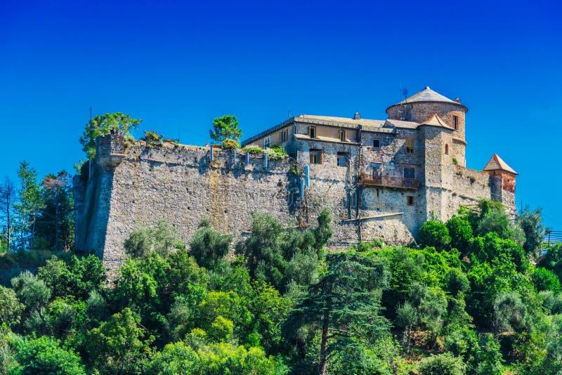 Castello布朗在菲诺港,利古里亚,意大利 免版税图库摄影