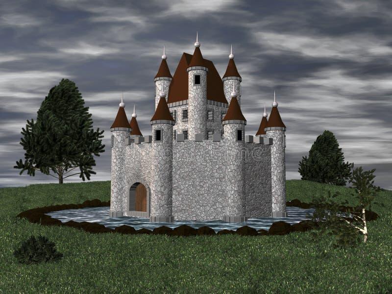 castello 3D con il fossato illustrazione di stock