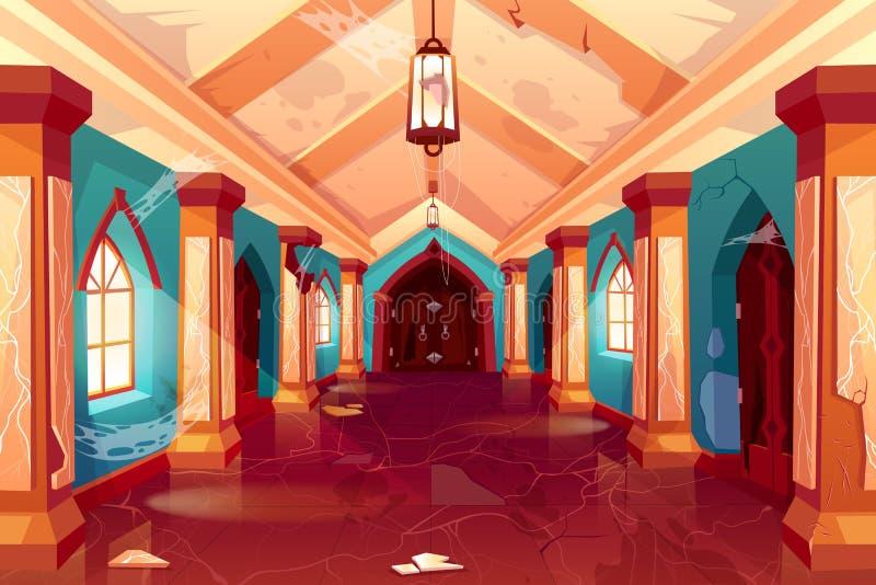 Castello abbandonato, interno vuoto del palazzo, corridoio illustrazione di stock