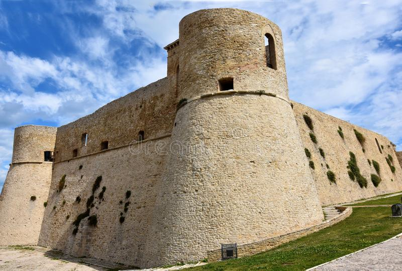 Castello Aragonese in Ortona, Abruzzo. Castello Aragonese in Ortona In 1946 a landslide destroyed almost half of the castle royalty free stock images