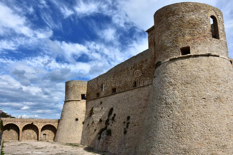 Castello Aragonese in Ortona, Abruzzo. Castello Aragonese in Ortona In 1946 a landslide destroyed almost half of the castle stock photography