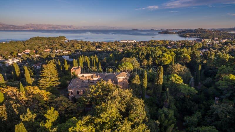 Castello Bibelli на Корфу Греции Вилла XVIII века элегантная которая теперь покинута стоковая фотография rf