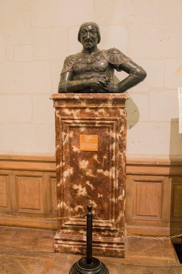 Castello bronzeo Francia di Chambord del busto fotografia stock