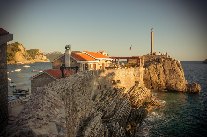 Castello, coastal Venetian fortress. Petrovac town, Montenegro stock photo