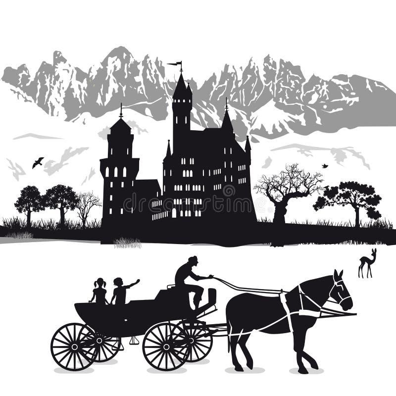 Castello con i bambini in cavallo e trasporto royalty illustrazione gratis
