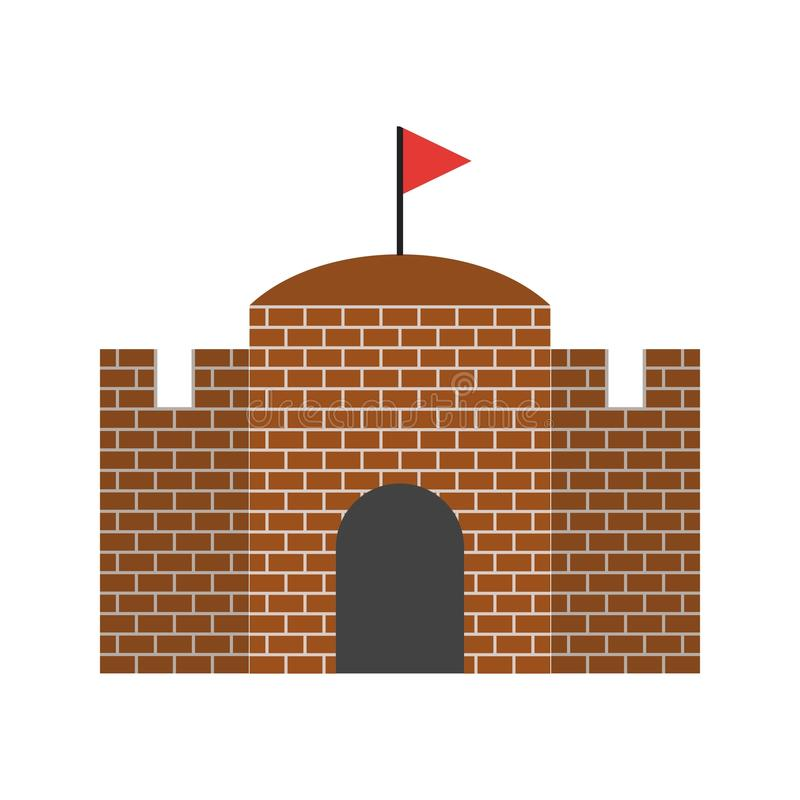 castello con la bandiera illustrazione di stock
