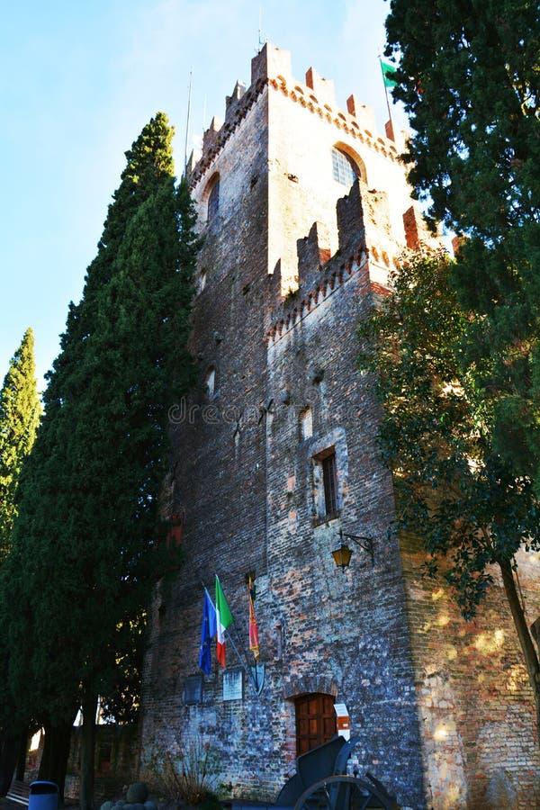 Castello, Conegliano och Torre della Campana arkivfoto