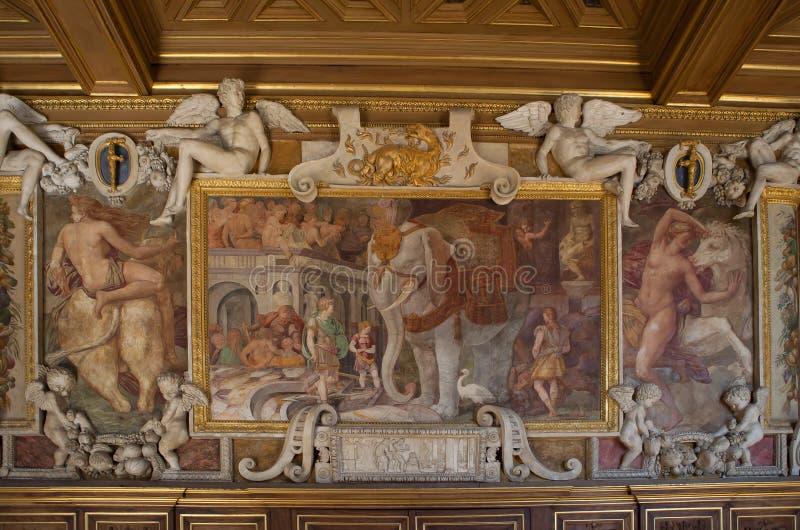 Castello de Fontainebleau, Francia, dettagli degli interni immagini stock libere da diritti