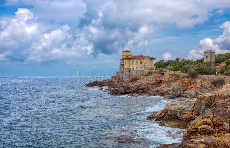 Castello del Boccale, Livorno, Tuscany, Italy. The Boccale castle is a large manor that rises up in Livorno, south of the Antignano district, along the coastal stock images