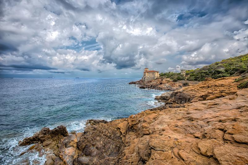 Castello del Boccale, Livorno, Tuscany, Italy. Europe. The Boccale castle is a large manor that rises up in Livorno, south of the Antignano district, along the stock photography