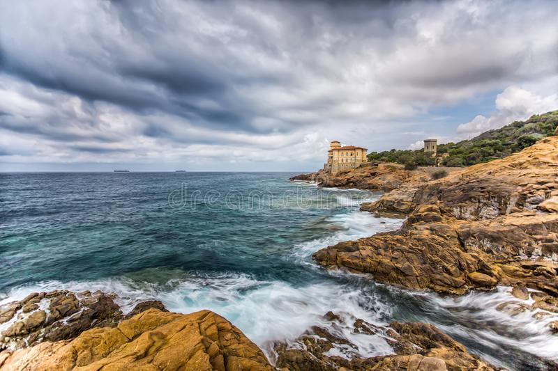 Castello del Boccale, Livorno, Tuscany, Italy. Europe. The Boccale castle is a large manor that rises up in Livorno, south of the Antignano district, along the royalty free stock photo