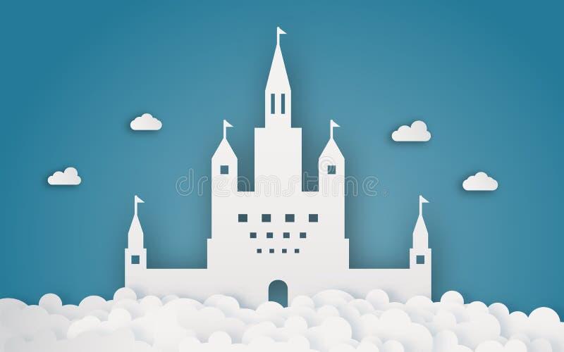 Castello del cielo sul papercraft della nuvola Fondo di tema di fantasia e dell'estratto Mestiere di Digital e concetto di origam illustrazione di stock