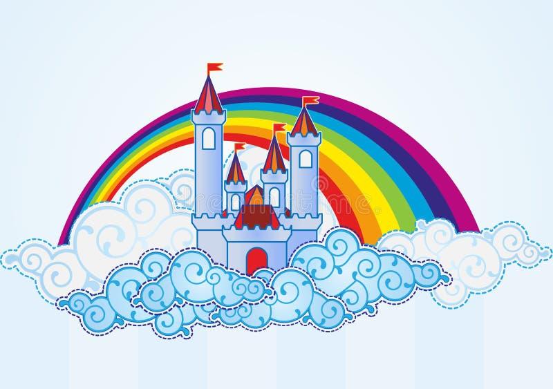 Castello del fumetto nel cielo illustrazione di stock