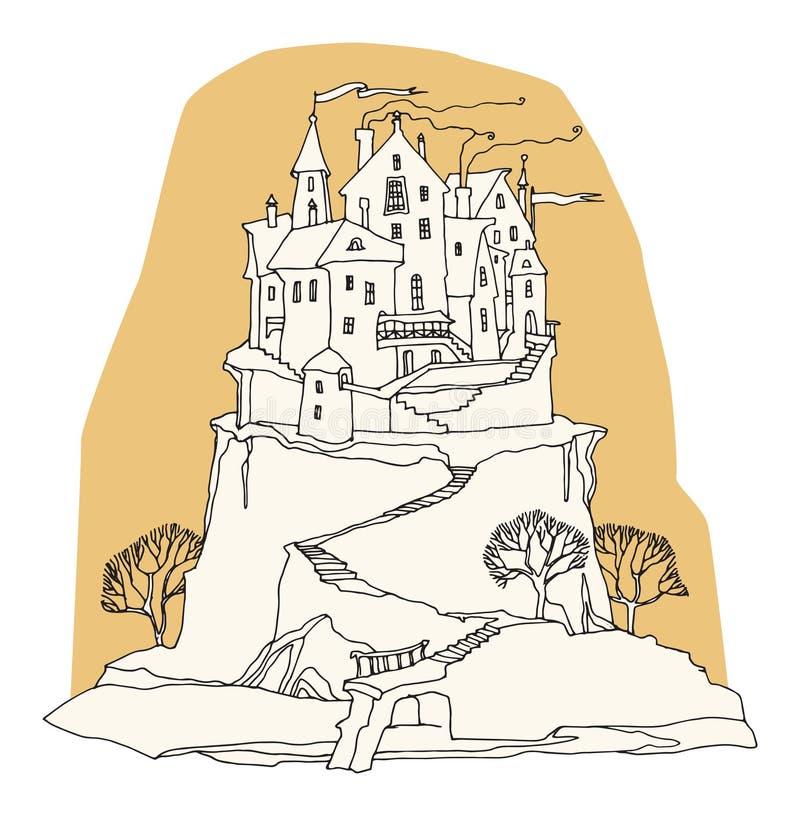 Castello del fumetto su fondo bianco royalty illustrazione gratis