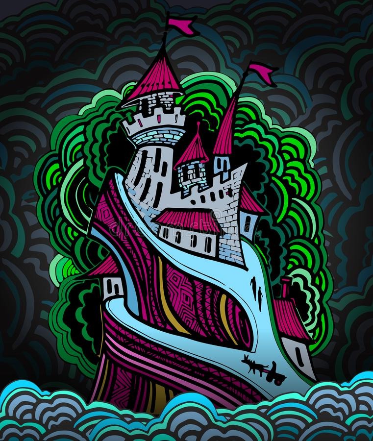 Download Castello Del Fumetto In Un Colore Di Notte Illustrazione Vettoriale - Illustrazione di disegno, antico: 117976597