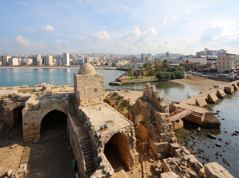 Castello del mare del crociato di Sidon, Libano fotografia stock libera da diritti