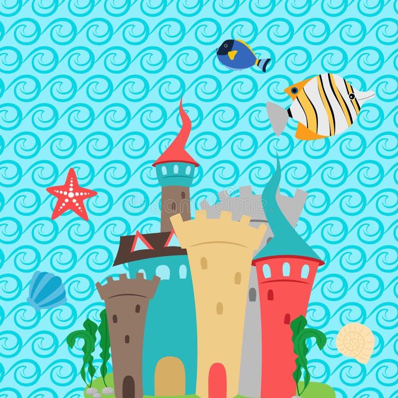 Castello del mare e carta da parati del modello di onde illustrazione di stock