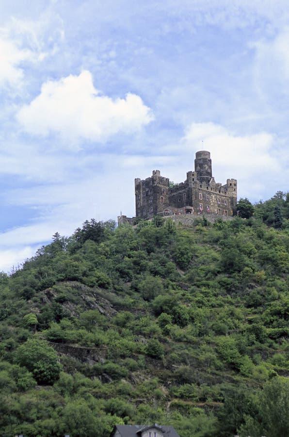 Castello del Reno River Valley vicino a Koblenz, Germania immagini stock libere da diritti