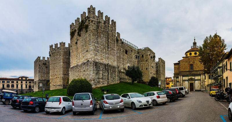 Castello dell`Imperatore in Prato, Italy. Castello dell`Imperatore is castle with crenellated walls and towers. Built for medieval emperor and King of Sicily royalty free stock photo