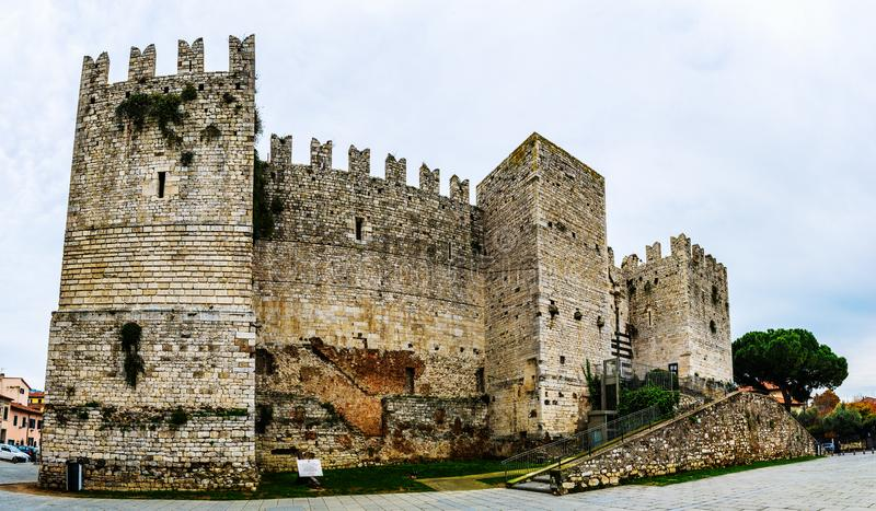 Castello dell'Imperatore in Prato, Italy. Castello dell'Imperatore is castle with crenellated walls and towers. Built for medieval emperor and King of Sicily stock photography