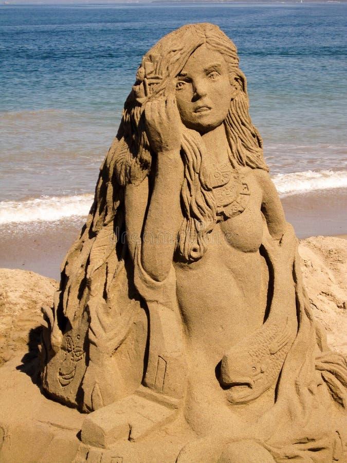 Castello della sabbia della sirena fotografia stock libera da diritti