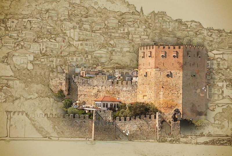 Castello di Alanya illustrazione vettoriale