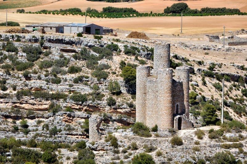 Castello di Alarcon in Spagna fotografie stock