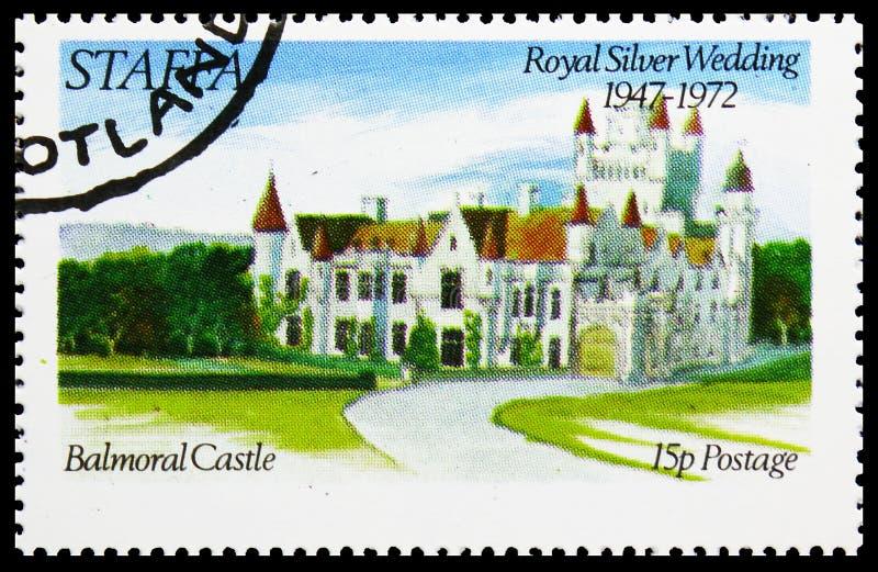 Castello di Balmoral, nozze d'argento reali, serie di Staffa Scozia, circa 1972 immagine stock