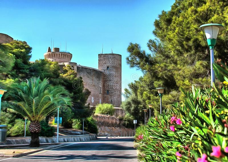 Castello di Bellver in Palma di Maiorca fotografie stock libere da diritti