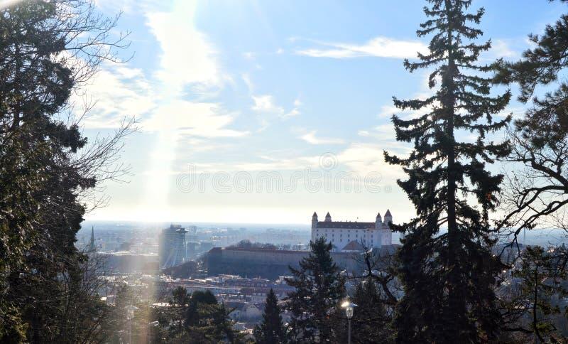 Castello di Bratislava nell'inverno fotografie stock libere da diritti