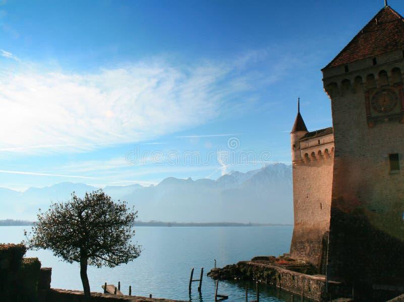 Castello di Chillon e lago Ginevra immagine stock