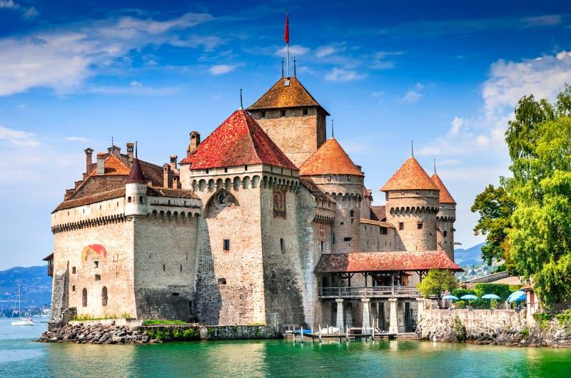 Castello di Chillon, Svizzera - lago Geneve fotografia stock libera da diritti